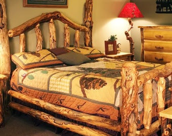 Aspen Log Wild Grizzly Bed, Reclaimed Wood Bed, Colorado Aspen Log Furniture  FREE SHIPPING
