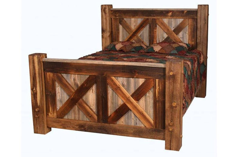 Attirant Barn Wood Pioneer Bed X Design, Natural Barnwood Bed, Rustic Bed, Rustic  Furniture, Reclaimed Wood Bed