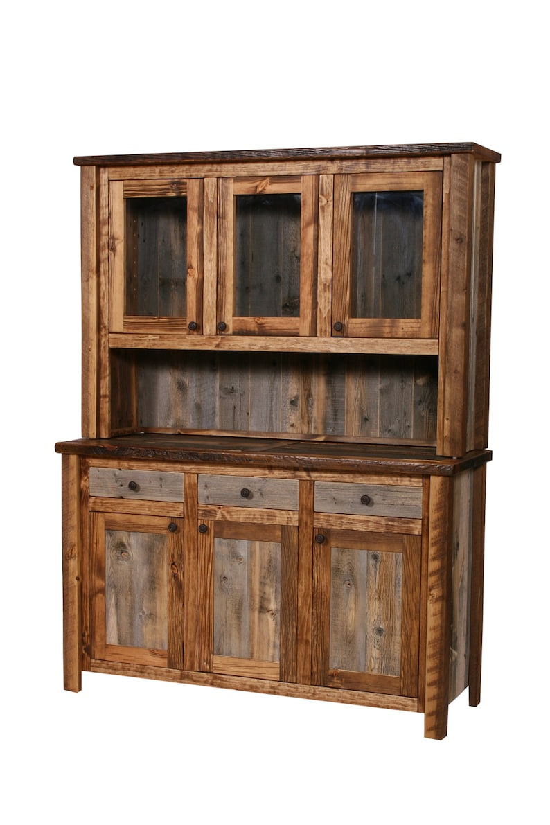 Natural Barn Wood Buffet And Hutch Rustic