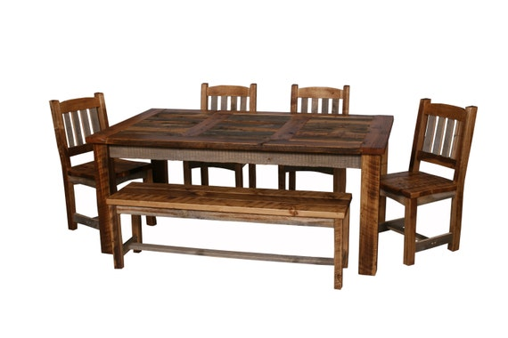 Natural Barn Wood Dining Table Set Dining Room Furniture Rustic Table Set Dining Room Furniture