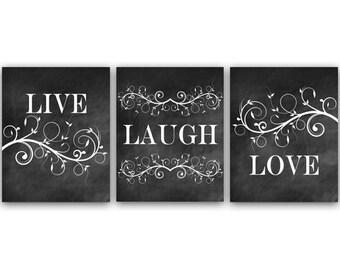 Home Decor Wall Art Live Laugh Love Chalkboard CANVAS Bathroom Bedroom Prints