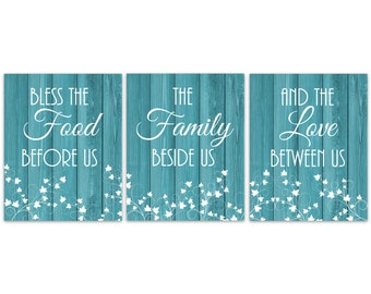 Ordinaire Teal Kitchen CANVAS Or PRINTS, Bless The Food Before Us Kitchen Quote Art,  Dining Room Pictures, Kitchen Decor, Farmhouse Decor   HOME363