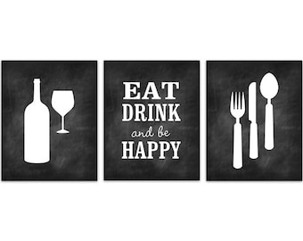Chalkboard Kitchen CANVAS, Home Decor Wall Art, Fork And Spoon Wall Decor,  Wine Glass Art, Eat Drink And Be Happy, Kitchen Decor   HOME165
