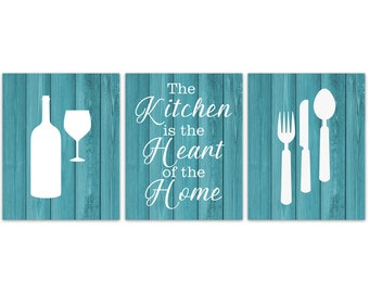Bon Teal Kitchen, Fork Spoon Knife Art, The Kitchen Is The Heart Of The Home  Kitchen Quote Art, Kitchen CANVAS, Rustic Kitchen Decor   HOME308