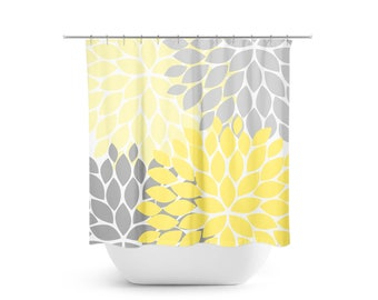 Yellow And Gray Shower Curtain Floral Bathroom Decor Guest Girls Bath