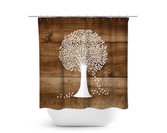 Tree Shower Curtain Rustic Bathroom Decor Bath Farmhouse Brown And White