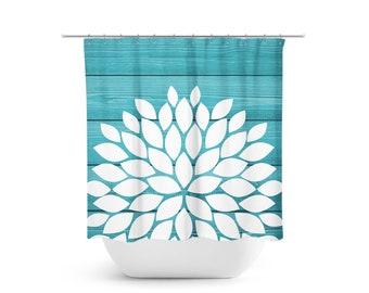 Flower Shower Curtain Aqua And White Farmhouse Bathroom Decor Turquoise Teal Bathtub