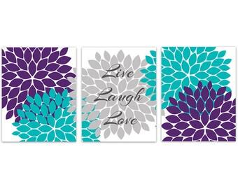 Home Decor Wall Art, Flower Burst Canvas, Purple Teal Gray Floral Art  Prints, Bedroom Art, Live Laugh Love Canvas   HOME271