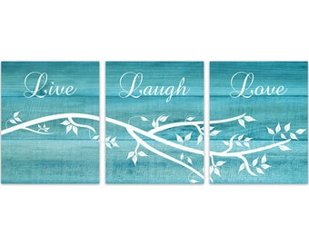 Home Decor Wall Art, Live Laugh Love CANVAS, Aqua Wall Art, Bathroom Decor,  Wood Effect Art, Tree Branch Art, Aqua Bedroom Decor   HOME145