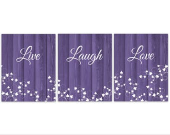 Purple Decor, Live Laugh Love, Rustic Decor, Purple Home Decor Canvas, Set  Of 3 Ivy Prints, Country Home Decor, Housewarming Gift   HOME301