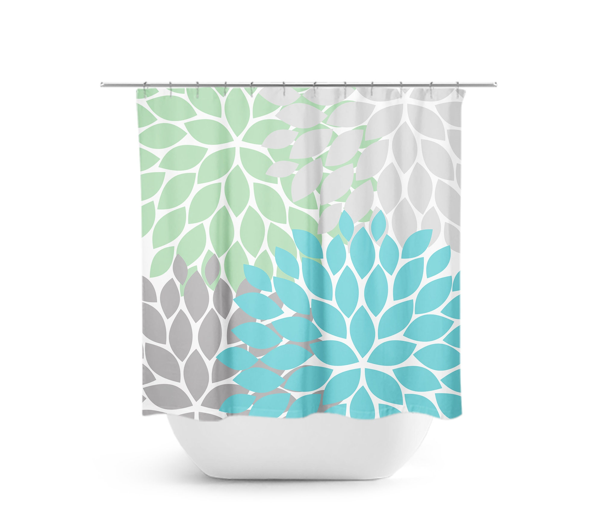 Sea Glass Shower Curtain Green Blue Gray Bathroom Decor Flower Bath Floral Guest