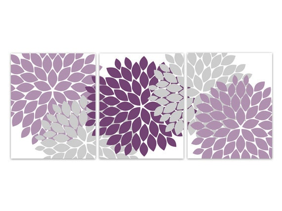 Home Decor Wall Art, Purple and Grey Flower Burst CANVAS Art, Bathroom Wall  Decor, Purple Bedroom Decor, Nursery Wall Art - HOME115