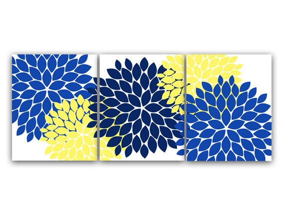 Home Decor Wall Art Canvas And Prints Blue And Yellow Flower Burst