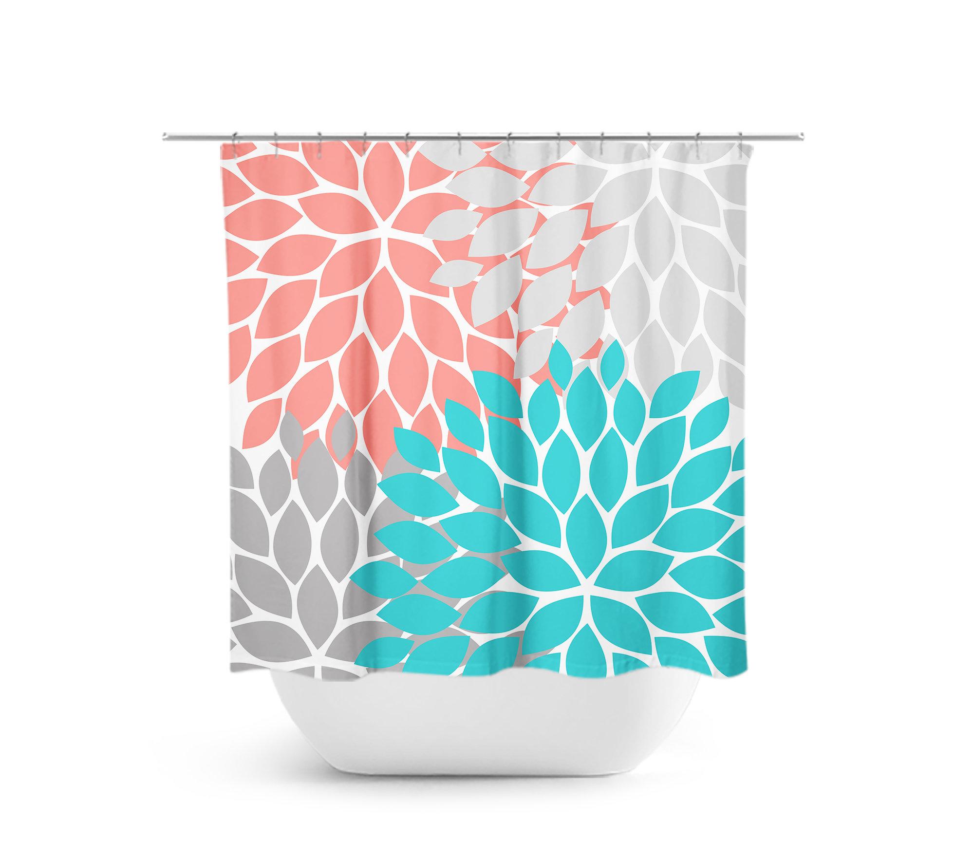 Coral Aqua Gray Shower Curtain Floral Bath Bathroom Decor Guest Bathtub