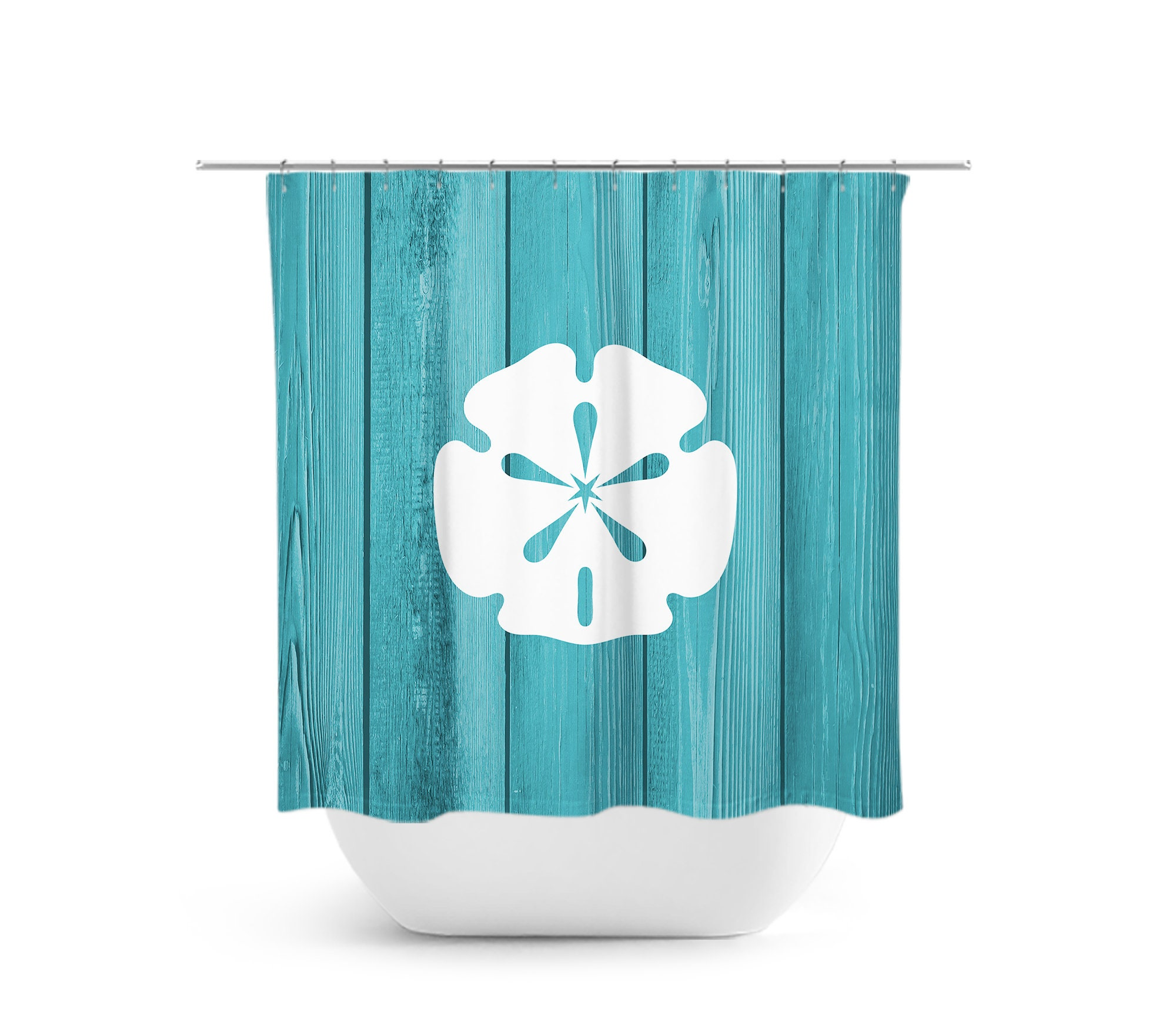 Beach House Shower Curtain Sand Dollar Bath Nautical Bathroom Decor Teal