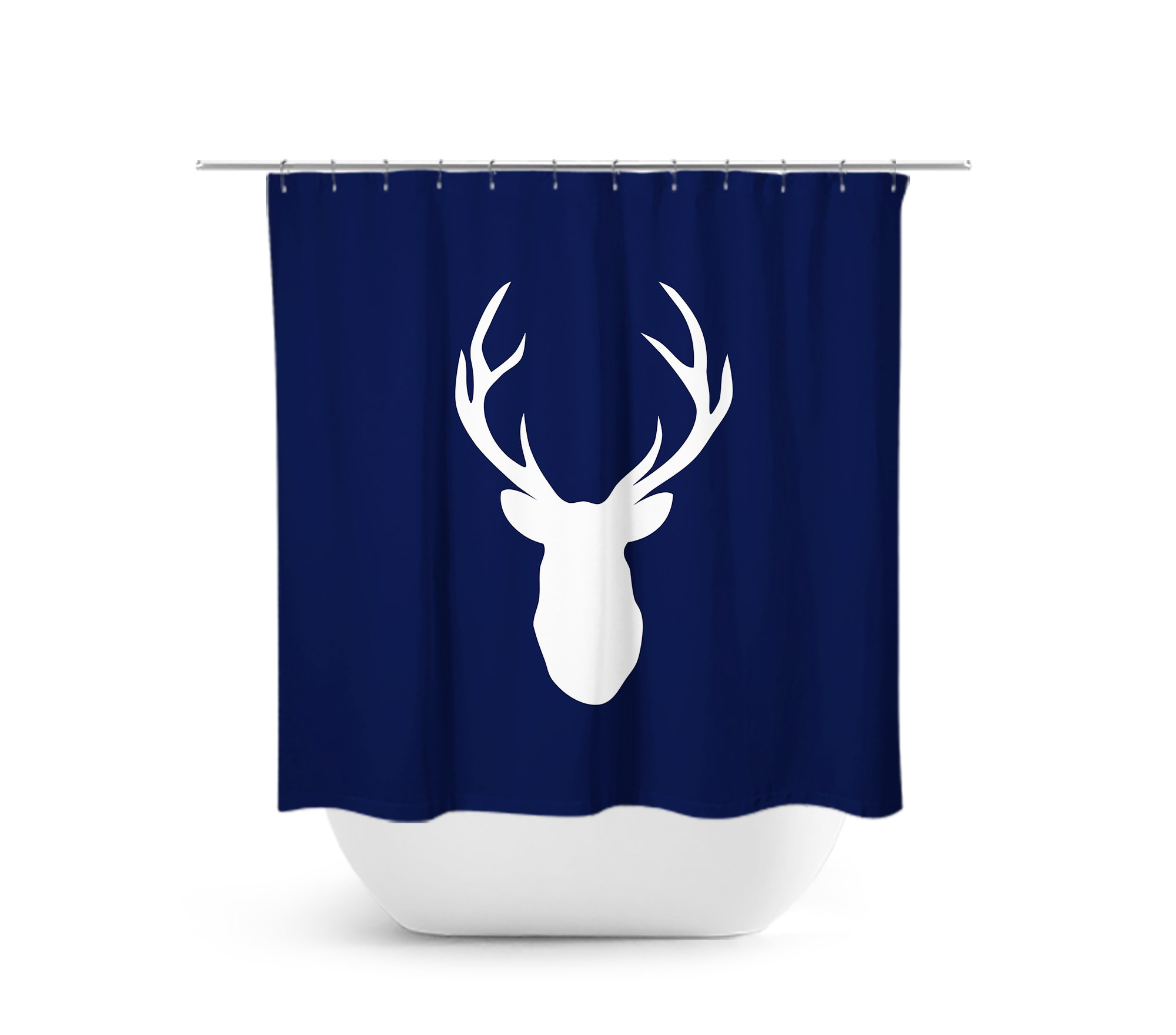 Blue Shower Curtain Hunting Lodge Decor Deer Head Antler