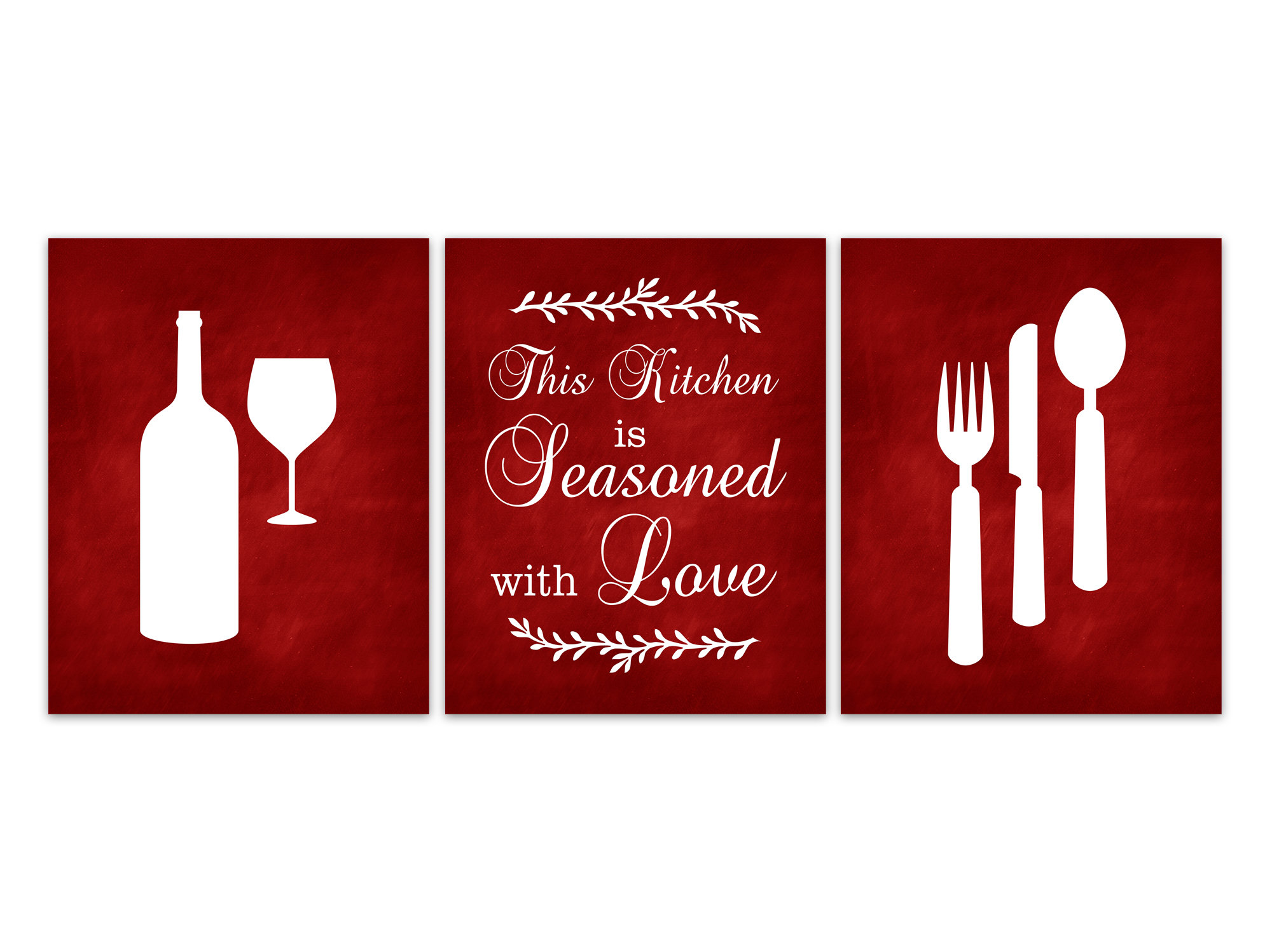 This Kitchen Is Seasoned With Love Kitchen Wall Art CANVAS, Red Kitchen Wall  Art PRINTS, Christmas Kitchen Decor, Kitchen Quote   HOME453