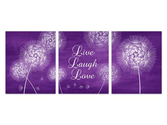 Live Laugh Love CANVAS or PRINTS, Purple Home Decor Wall Art Prints ...