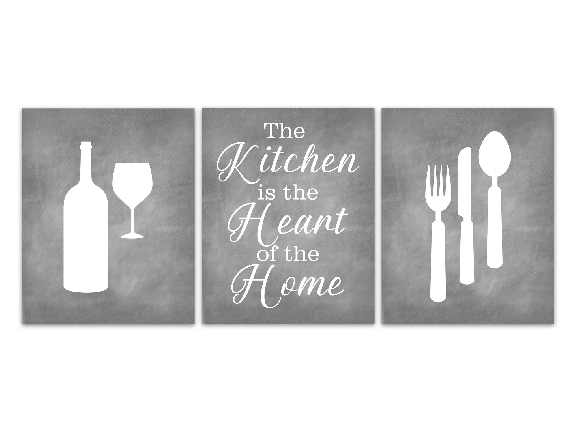 Gray Kitchen Canvas Utensils Wall Art Prints Kitchen Decor Modern Kitchen Pictures The Kitchen Is The Heart Of The Home Home320