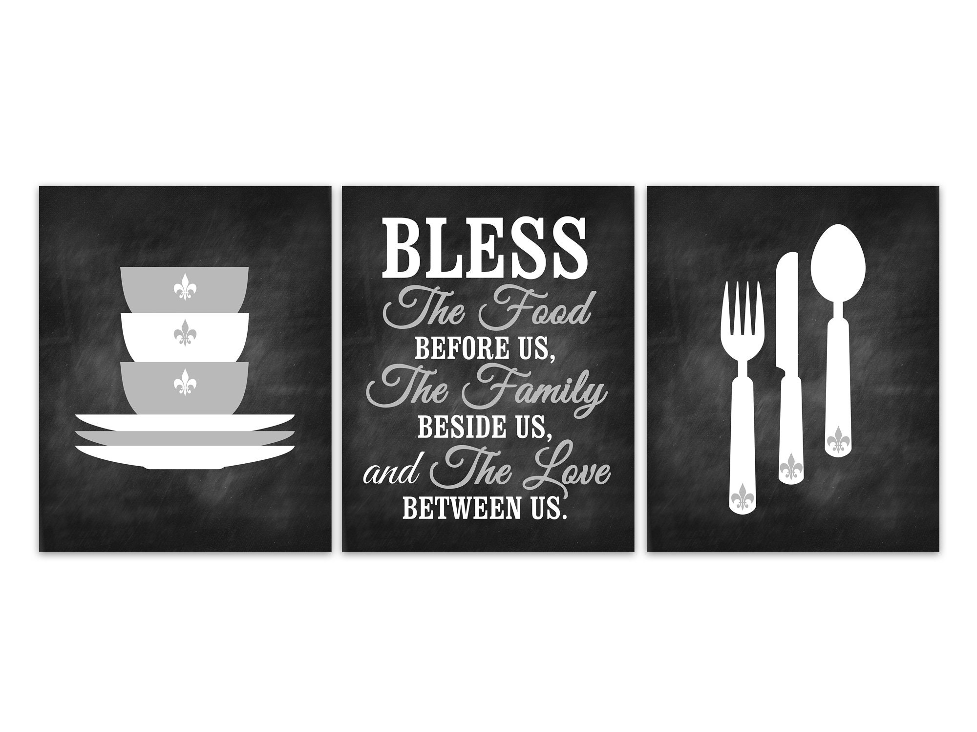 Bless The Food Before Us, Fleur De Lis Kitchen Quote Prints ...