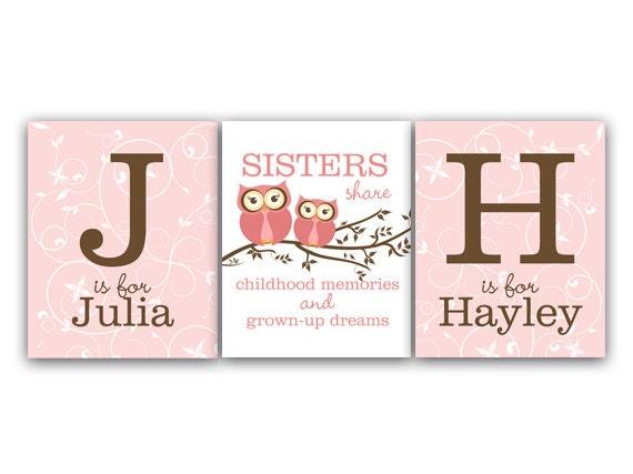 Sisters CANVAS Wall Art, Sisters Quote, Girls Monogram Art, Owl Art ...