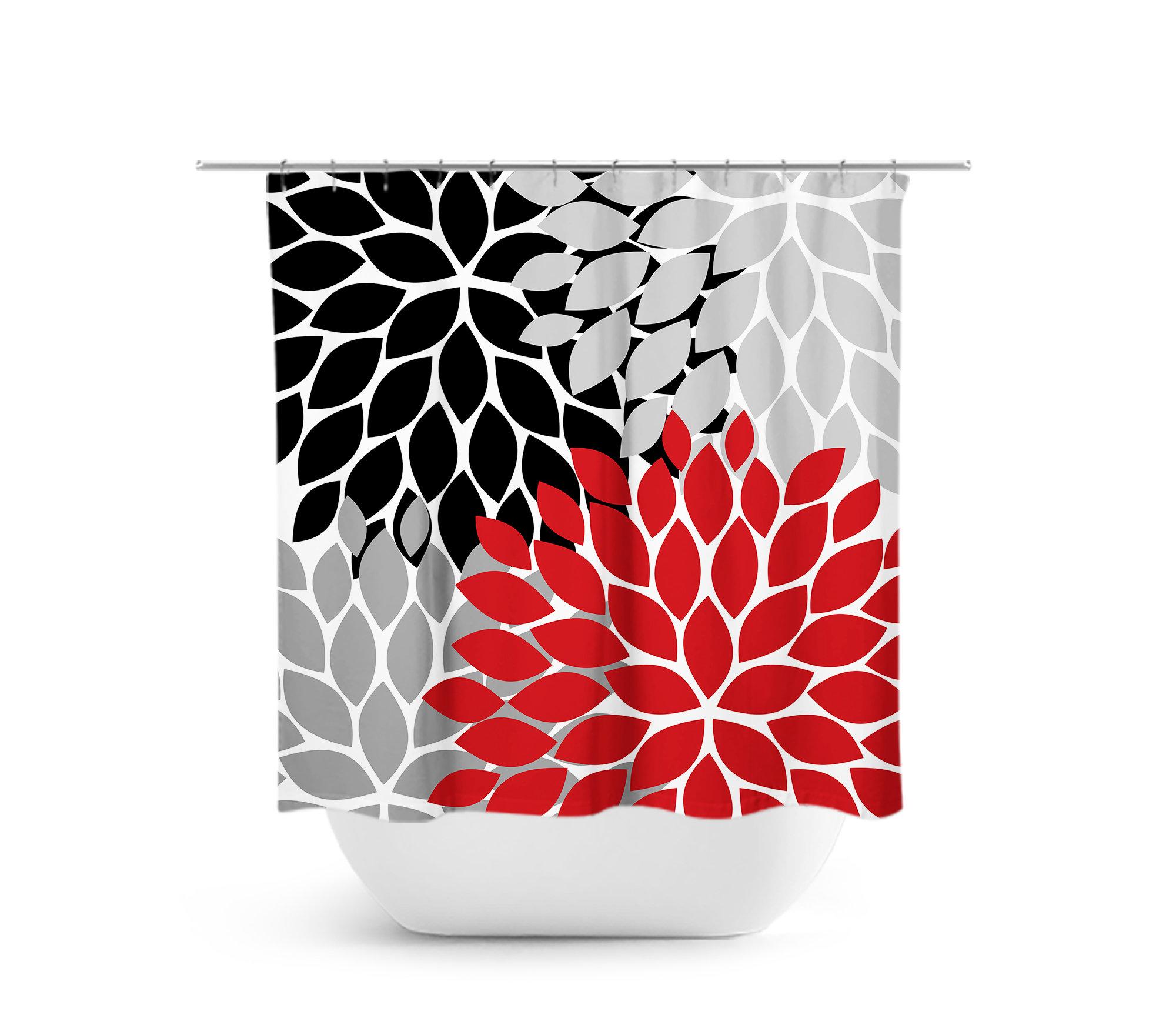 Red Black Shower Curtain Floral Custom Bathtub Bathroom Decor Modern Gray