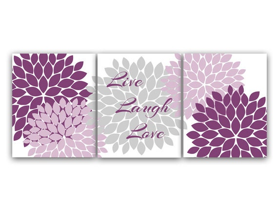 Home Decor Wall Art Live Laugh Love Purple And Gray Wall Art Etsy