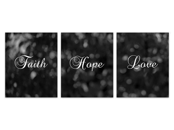 Home Decor CANVAS, Faith Hope Love, Black and White Wall Art ...