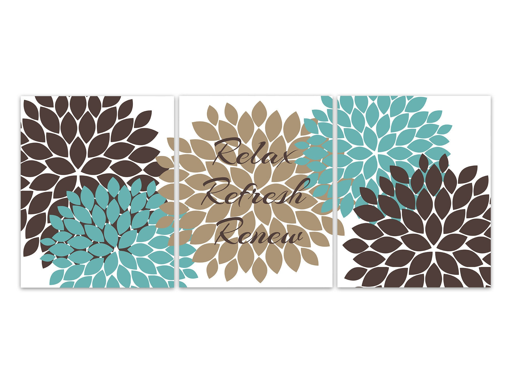 Bathroom wall art relax refresh renew canvas teal and brown