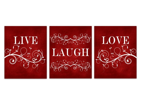 Live Laugh Love CANVAS, Red Wall Art, Burgundy Home Decor, Bathroom ...