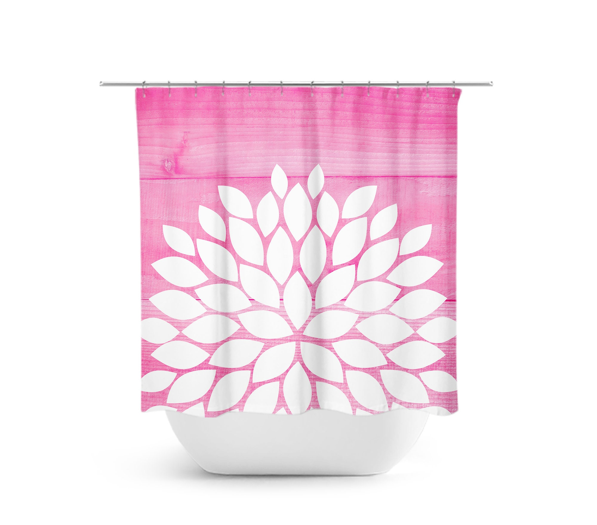 Flower Shower Curtain Pink And White Bathroom Decor
