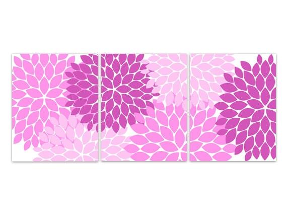 Home Decor Wall Art CANVAS or PRINTS Pink Flower Burst Art | Etsy