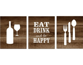 Brown Kitchen Decor, Rustic Kitchen Art, Eat Drink Quote, Fork Spoon Wall  Decor