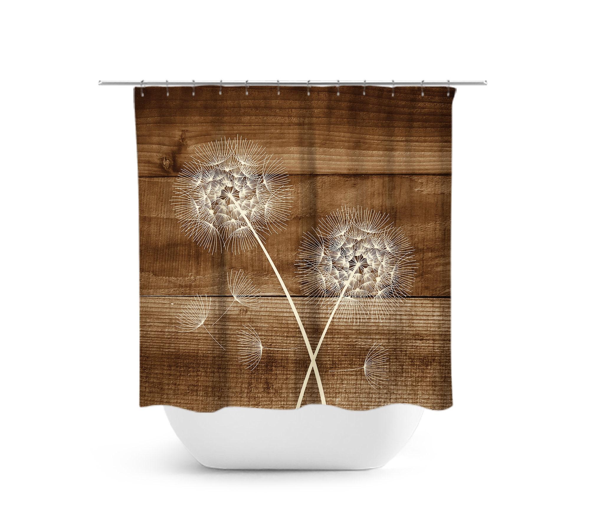 Dandelion Shower Curtain Rustic Bathroom Decor Bath