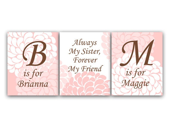 Sisters CANVAS Wall Art, Sister Quote PRINTS, Personalized Kids Wall ...