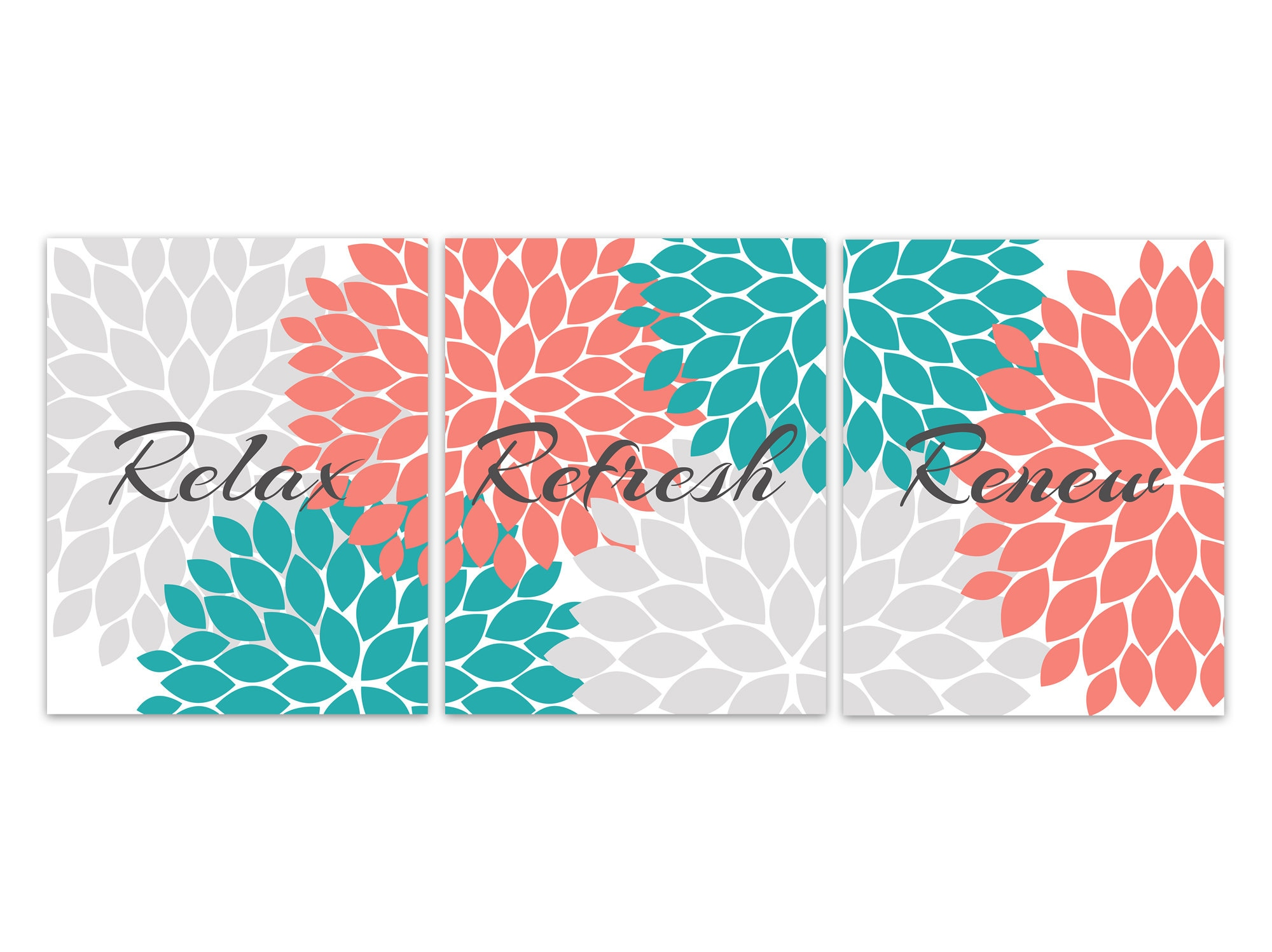 Relax Refresh Renew Bathroom Canvas Wall Art Teal And
