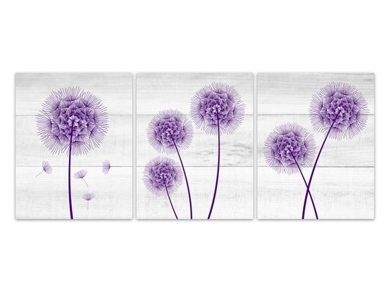 Farmhouse Home Decor CANVAS, Purple Dandelion Art, Bathroom Wall Decor,  Wood Effect Dandelion Bedroom Decor, Nursery Wall Art - HOME333