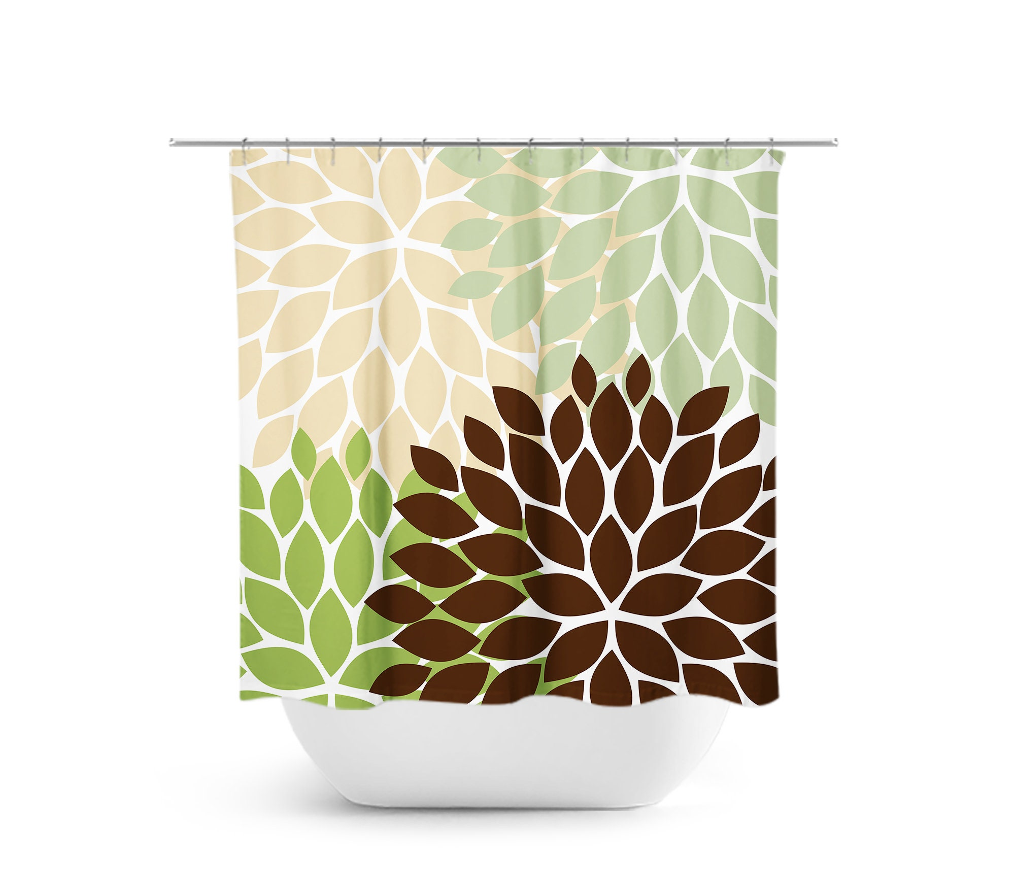 Brown Tan Green Shower Curtain Floral Bath Curtain Brown