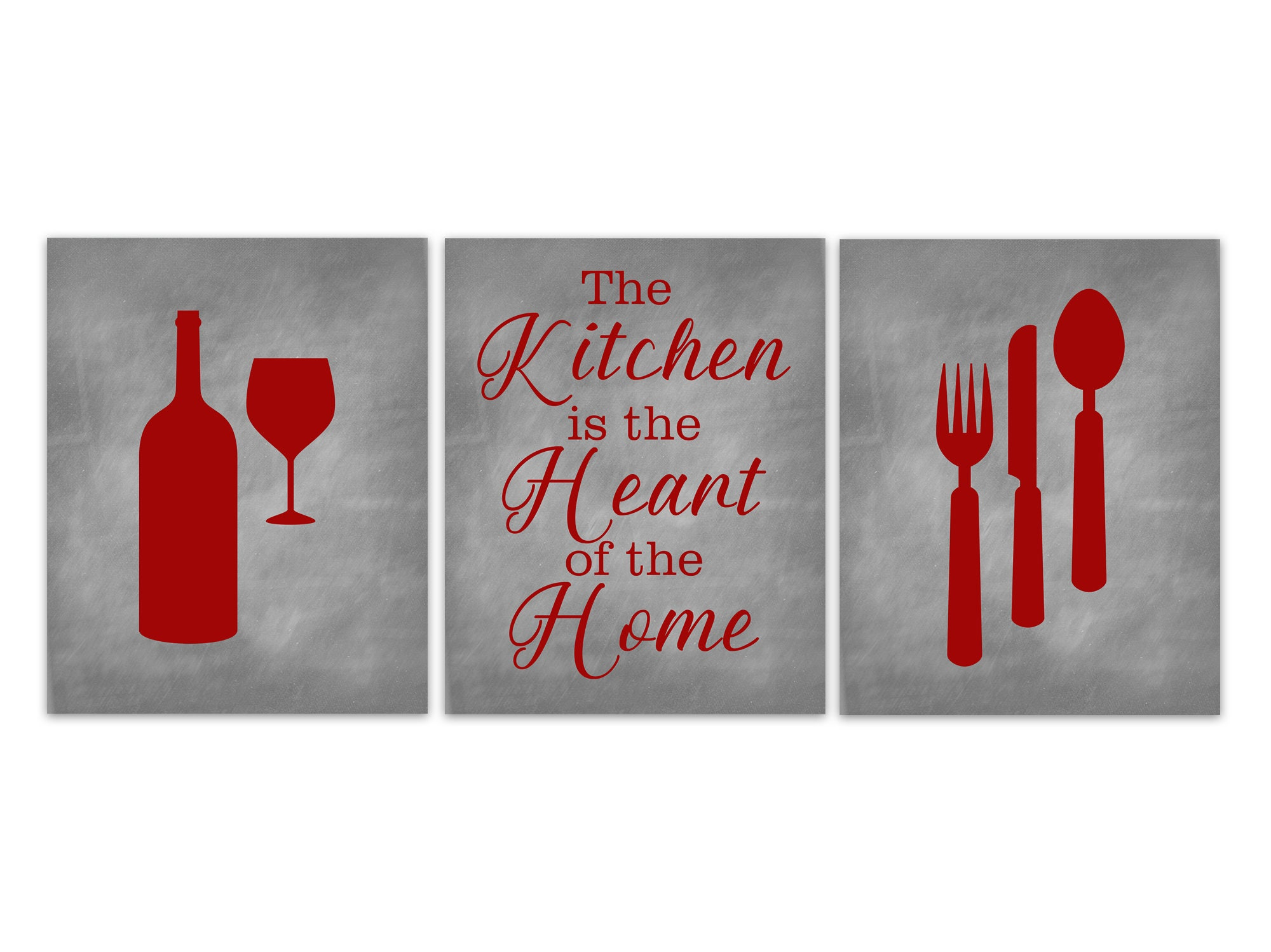 Kitchen Canvas Utensils Wall Decor Gray And Red Kitchen