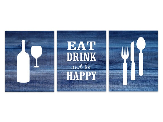 Blue Kitchen Decor Rustic Kitchen Art Eat Drink Quote Fork Spoon