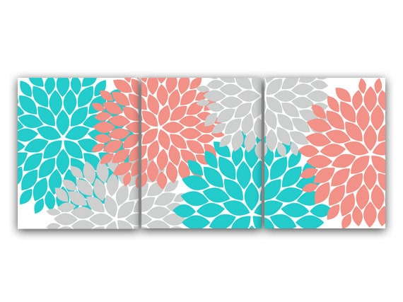 Home Decor Canvas Or Wall Art Prints Coral And Teal Flower Etsy
