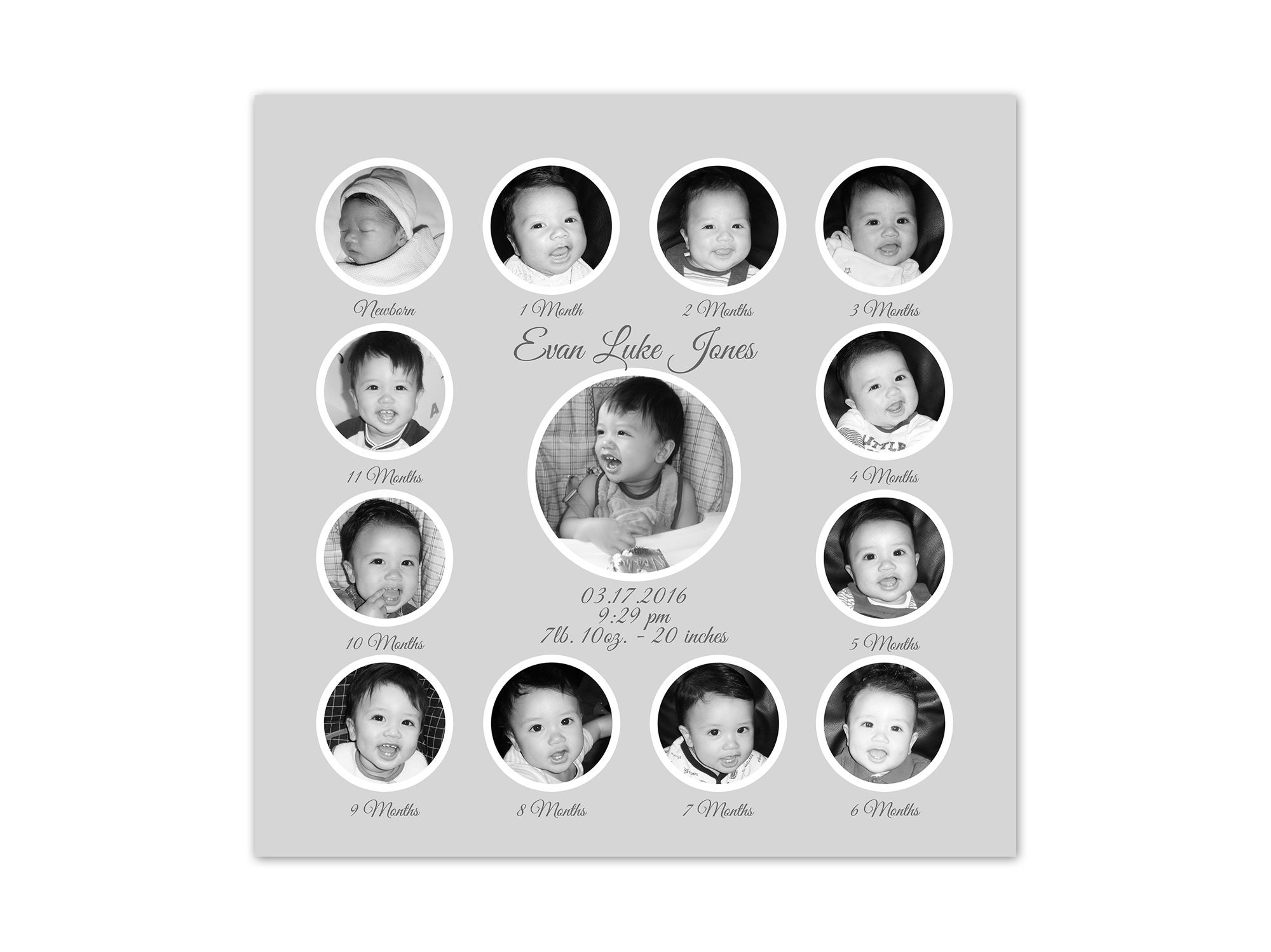Birth Stats Art Babys 1st Year Photo Collage Grandparents Gifts Birthday Gift Baby Keepsake Gray And White Nursery Canvas