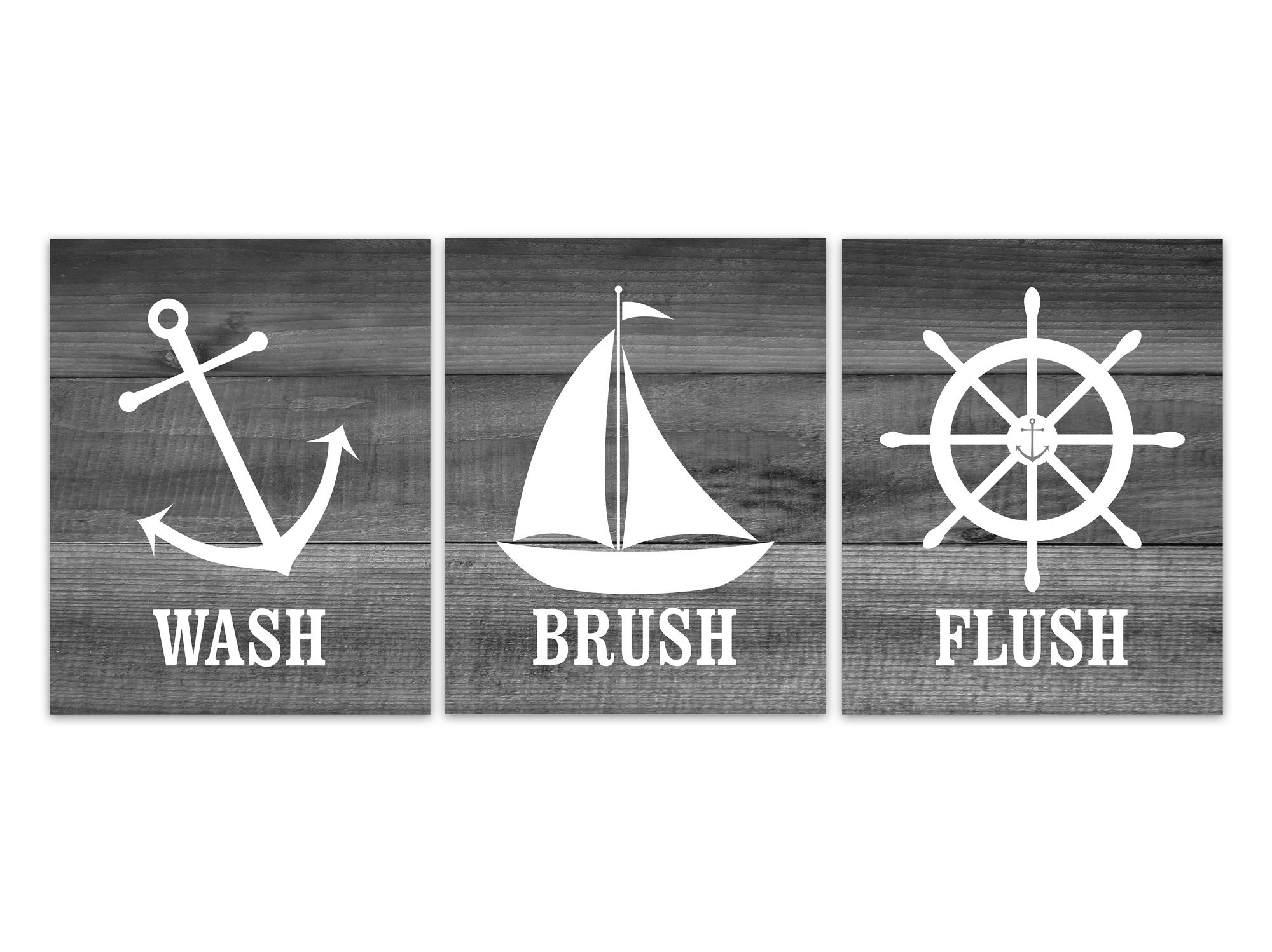 Nautical Bathroom Rules Pictures, Wash Brush Flush CANVAS Or PRINTS, Set Of  3 Kids Bathroom Decor, Boys Bathroom Art, Anchor Wheel   BATH246