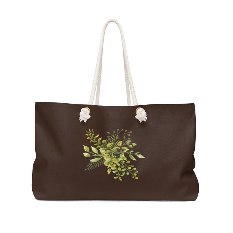 Honeymoon Gift WKROPE9 Brown Weekend Bag Rope Handle Tote Personalized Tote Bridesmaid Gifts Oversized Weekend Tote Overnight Bag