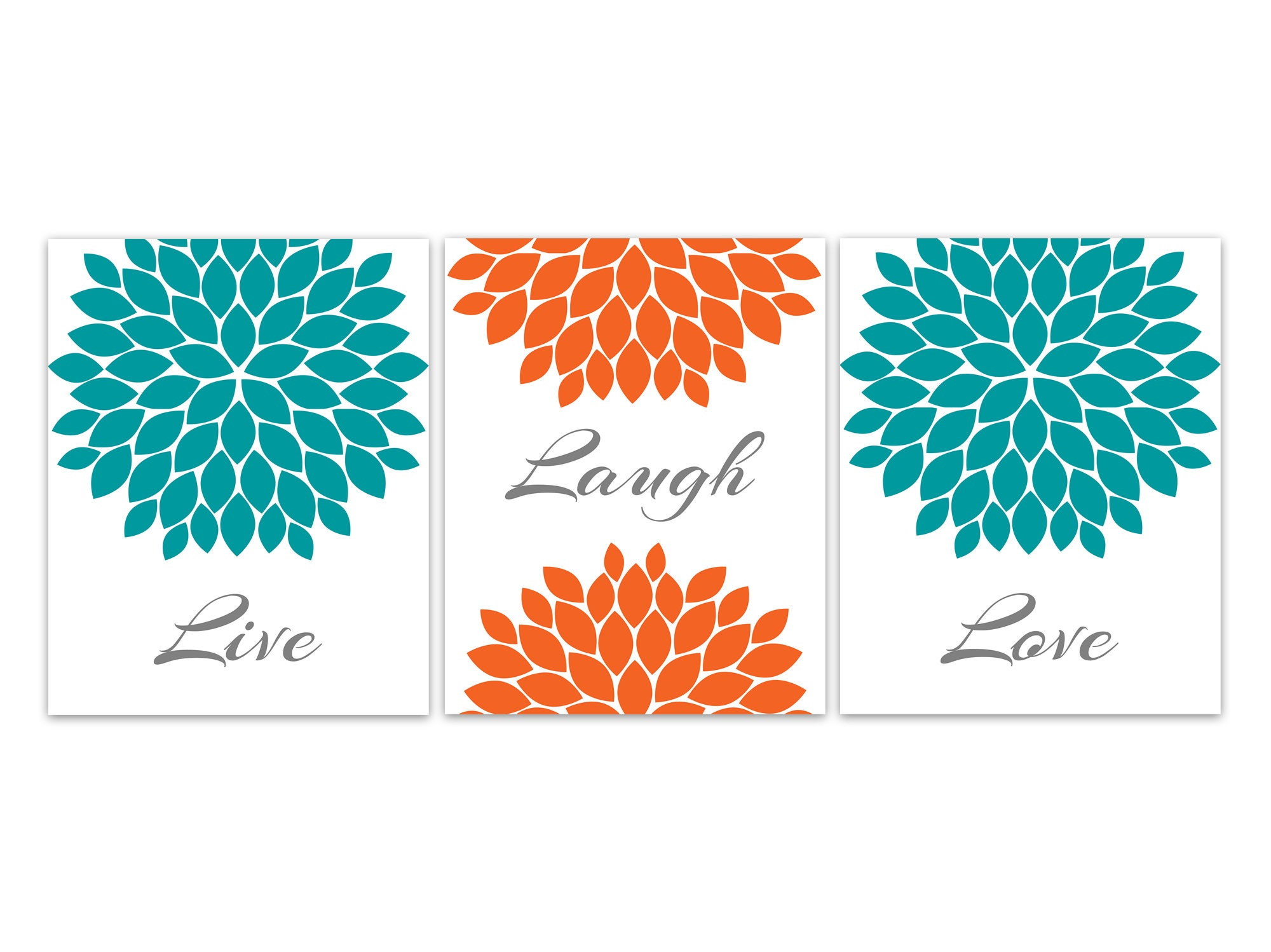 Live Laugh Love Home Decor CANVAS, Orange Teal Flower Wall Art ...