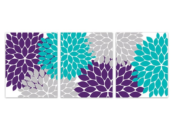 Home Decor Wall Art, CANVAS Wall Art, Purple and Teal Flower Burst Art,  Bathroom Wall Decor, Turquoise and Purple Bedroom Wall Art - HOME161