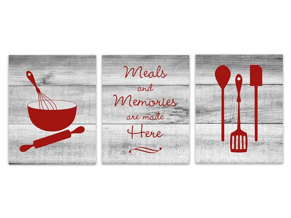 Kitchen Wall Decor Canvas Kitchen Signs Rustic Kitchen Art Dining Room Wall Art Meals And Memories Gray And Red Kitchen Decor Home214