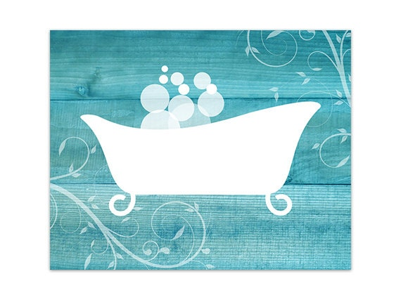 Aqua Bathroom Decor CANVAS Bathroom Wall Art Home Decor