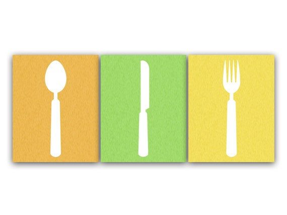 Kitchen CANVAS Art, Utensil Art Print, Bright Color Kitchen Art, Fork and  Spoon Wall Decor, Kitchen Wall Decor, Kitchen Decor - HOME60