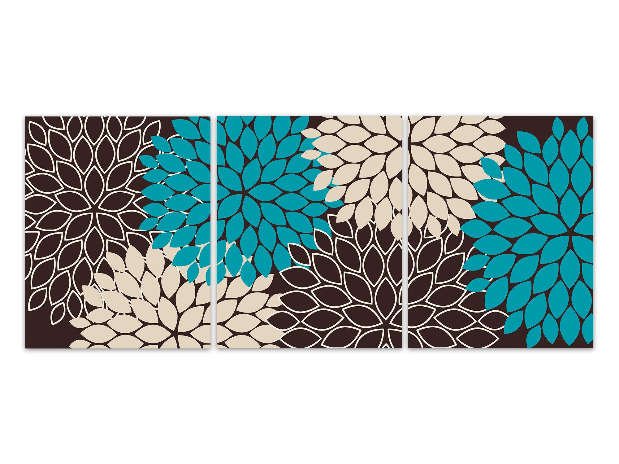 Home Decor Wall Art Prints or Canvas, Teal Brown Tan Flower ...
